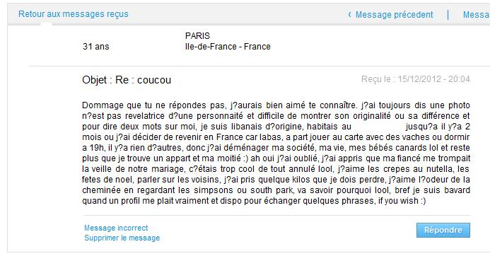 Site de rencontre message original